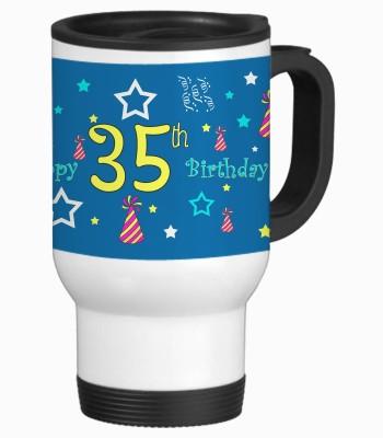 Sajawat Homes 35th Happy Birthday White Travel Stainless Steel Mug