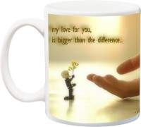 IZOR Valentine's Day Gift For Him/Her/Girlfriend/Boyfriend ; My Love For You, Is Bigger Than The Difference Printed Ceramic Mug