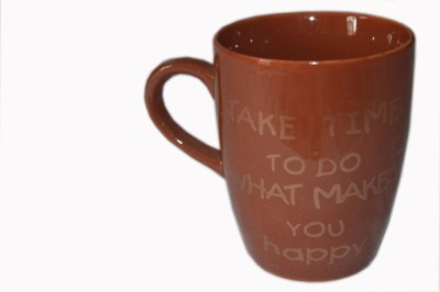MGPLifestyle Take Time to do what makes you Happy Quote  in Chocolate Brown Color Ceramic Mug