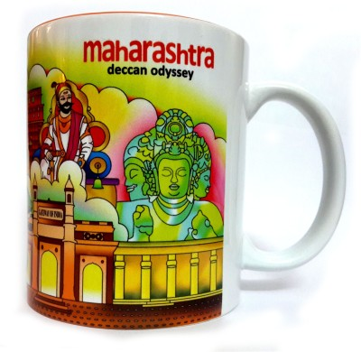 Indiavibes Printed Ceramic Coffee Tea  with Maharashtra Theme Ceramic Mug