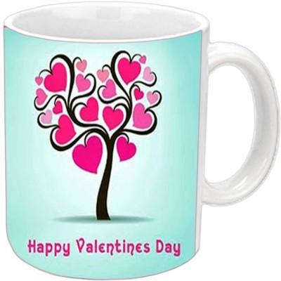 Jiya Creation Heart Tree Valentine White  Ceramic Mug