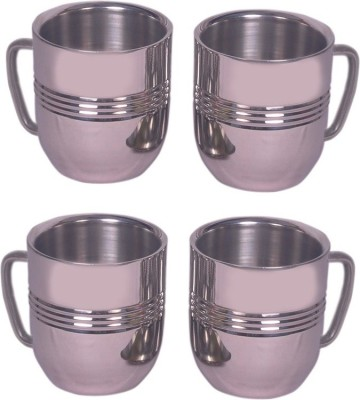 Dynore Set Of 4 Cappacino  Stainless Steel Mug