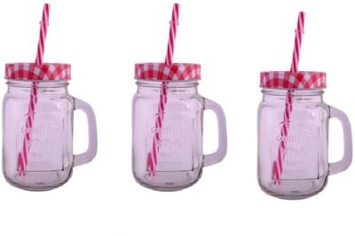 CreativesKart Checks Mason Jar Red (Set of 3) Glass Mug