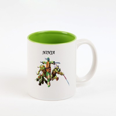 Huppme Ninja Turtle action Inner Green  Ceramic Mug