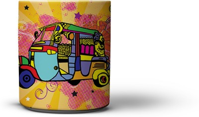 The Nodding Head Colourful Auto Coffee Ceramic Mug
