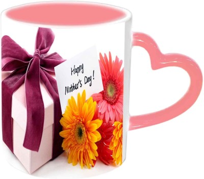 Jiya Creation1 Happy mother,s day with gift bunches Pink Heart Handle Ceramic Mug