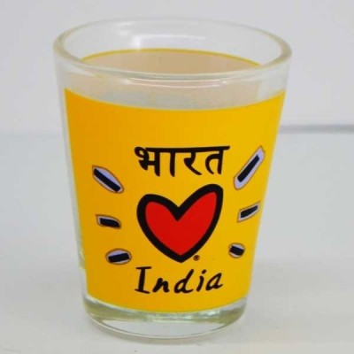 India Souvenirs Yellow Shot Glass with India Subway Design Glass Mug