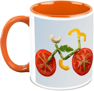 HomeSoGood Bicycle From Vegetables Ceramic Mug