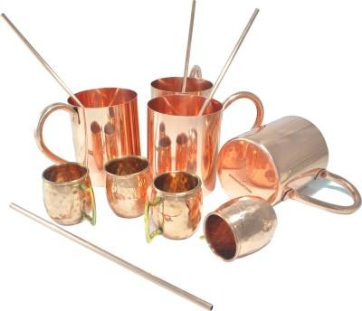 Dakshcraft Indian drinkware with shot cups & straw Copper Mug