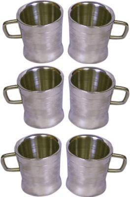 Dynore Set of 6 Double Wall Milano Cups Stainless Steel Mug
