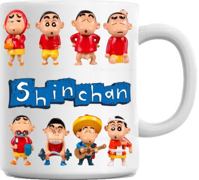 Huppme Gifts Shinchan Team White  Ceramic Mug
