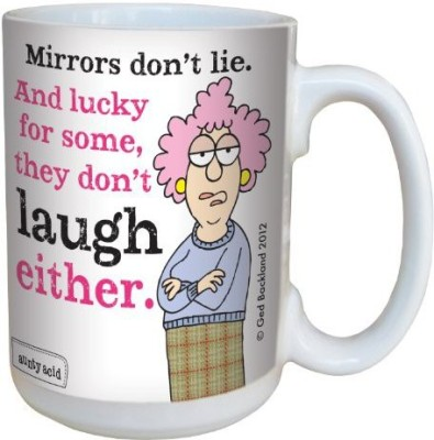 Tree-Free Greetings Greetings lm43784 Hilarious Aunty Acid Mirrors Don,t Lie by The Backland Studio Ceramic , 15-Ounce Ceramic Mug