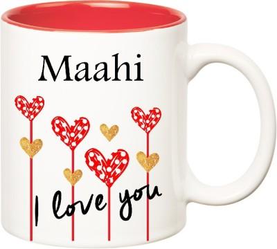 Huppme I Love You Maahi Inner Red  (350 ml) Ceramic Mug
