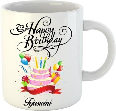 Huppme Happy Birthday Tejaswini White  (350 ml) Ceramic Mug