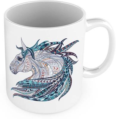 Kiran Udyog Unique Horse Design Printed Delightful Coffee  553 Ceramic Mug