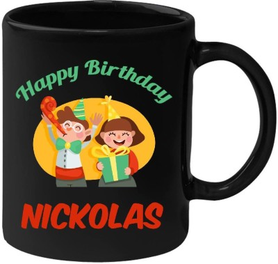 Huppme Happy Birthday Nickolas Black  (350 ml) Ceramic Mug