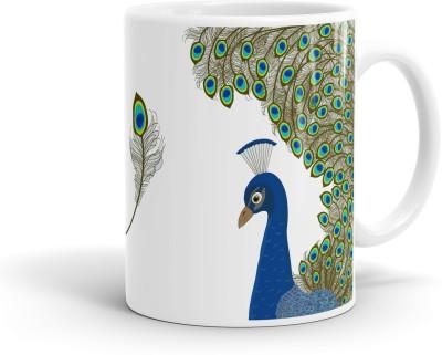 Heartzy Beautiful Blue Peacock  Ceramic Mug