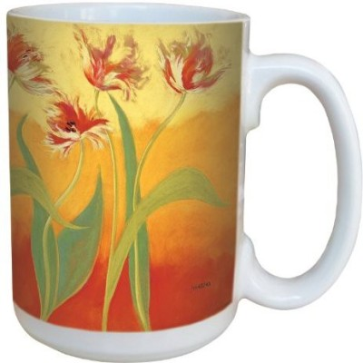 Tree-Free Greetings Greetings lm43743 Tulips on Yellow and Orange by Nel Whatmore Ceramic , 15-Ounce Ceramic Mug
