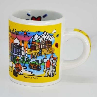 India Souvenirs 4 Oz Yellow  with India Subway Design Porcelain Mug