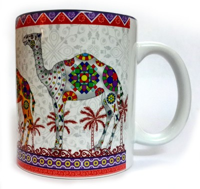 Indiavibes Printed Ceramic Coffee Tea  with Camel 4 Theme Ceramic Mug
