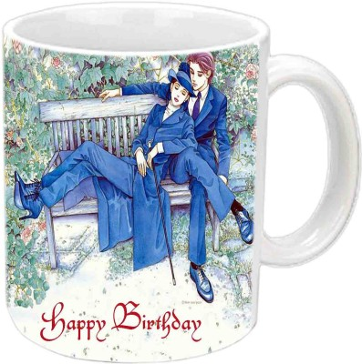 Jiya Creation1 Happy B,day White For Couples Ceramic Mug