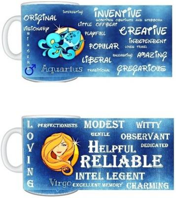 CreativesKart Zodiac Aquarius (M) Virgo (F) Compatibility  Ceramic Mug