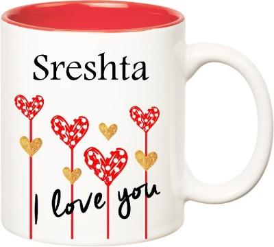 Huppme I Love You Sreshta Inner Red  (350 ml) Ceramic Mug