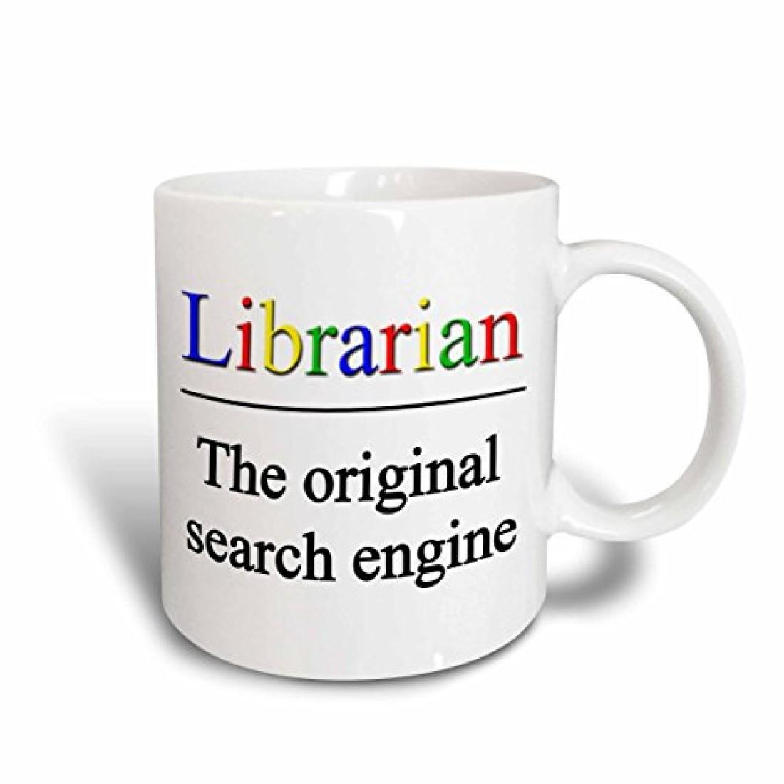 3dRose Librarian The Original Search Engine Ceramic , 15 oz, White Ceramic Mug