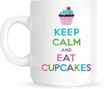 Huppme Keep Kalm And Eat Cupcakes White  Ceramic Mug