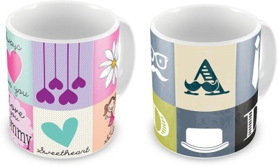 Indian Gift Emporium Love You Mother n Father Printed Cute Coffee s Pair Ceramic Mug