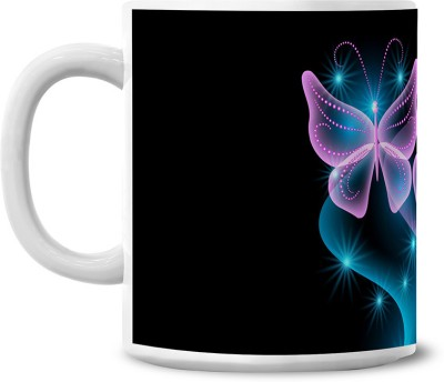 Lovely Collection Neon Butterflies Ceramic Mug