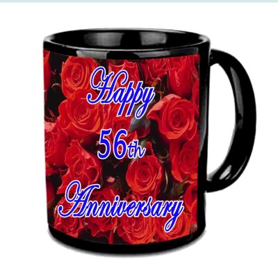 Jiya Creation1 Happy 56th Anniversary Multicolor Ceramic Mug