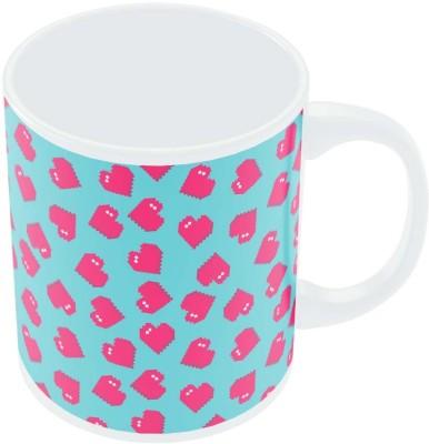 PosterGuy Hearts Quirky Pixel Art Pattern Graphic Art Porcelain Mug
