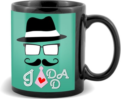 SKY TRENDS GIFT I Love Dad With Stylish Cap And Red Tie Best Gifts For Father,s Day Black Coffee Ceramic Mug
