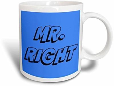 3dRose Mr Right Black Lettering on A Blue Background Ceramic , 11 oz, White Ceramic Mug