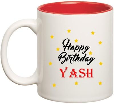 HuppmeGift Happy Birthday Yash Inner Red Ceramic  (350ml) Ceramic Mug