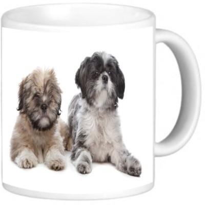 Rikki Knight LLC Knight Ceramic Coffee , Lhaso Apso and a Shih Tzu Ceramic Mug