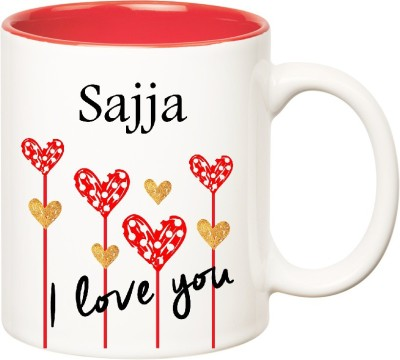 Huppme I Love You Sajja Inner Red  (350 ml) Ceramic Mug