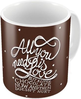 Little India Brown Designer Romantic Print Coffee s Pair 751 Ceramic Mug