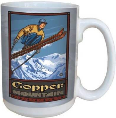 Tree-Free Greetings Greetings 79359 Copper Mountain Colorado Ski Jump by Paul A. Lanquist Ceramic  with Full-Sized Handle, 15-Ounce, Multicolored Ceramic Mug