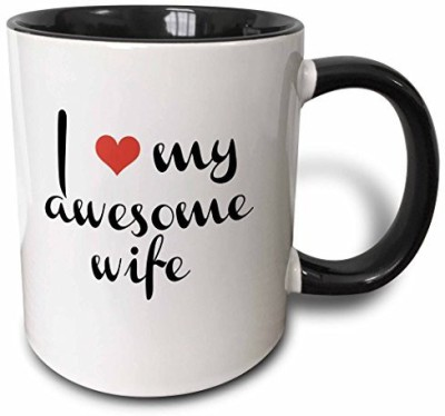 3dRose mug_202781_4 I Love My Awesome Wife Two Tone Black , 11 oz, Black/White Ceramic Mug