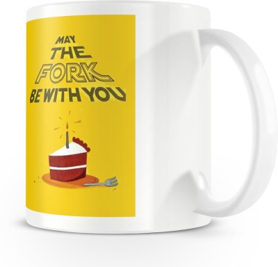 posterchacha May The Fork Be With You White Tea And Coffee To Give As A Birthday Gift To Loved One Bone China Mug