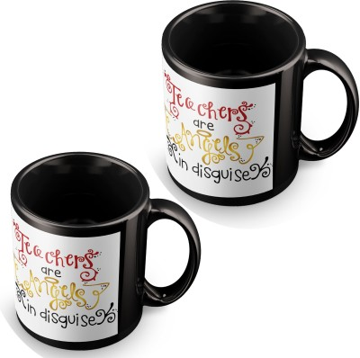 posterchacha Teachers Are Angels In Disguise Black Tea And Coffee To Gift To Teacher Ceramic Mug