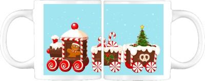 Awwsme Christmas Snow Cart Ceramic Mug