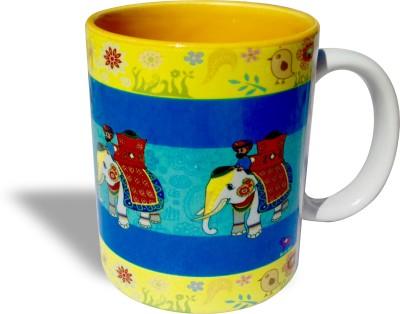 Blue Sky Designz Decorated Elephant Blue Yellow  Ceramic Mug