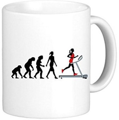 Muggies Magic Evolution Treadmill Woman Ceramic Mug(325 ml) available at Flipkart for Rs.449