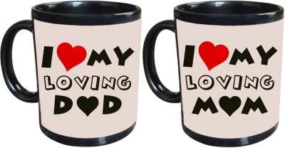Tiedribbons I love My Loving mom and Dad Gift For Parents Set Of 2 Ceramic Mug