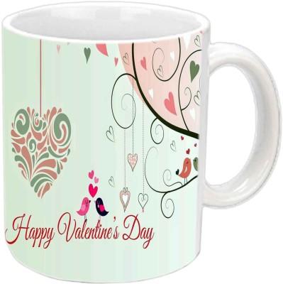 Jiya Creation Cute Valentine Birds White  Ceramic Mug