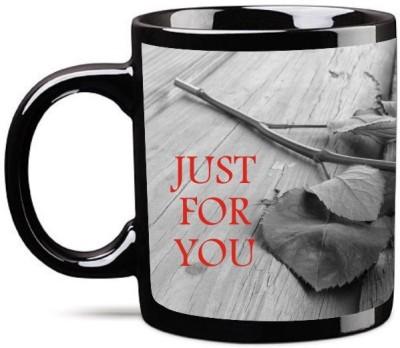 Big Idea Rose Just for You Black Ceramic Mug