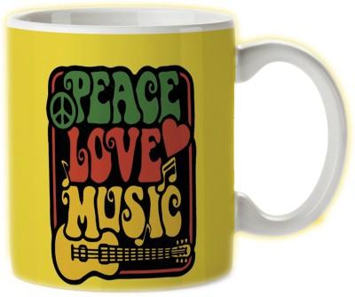 Pentagraphics Peace Love Music Ceramic Mug